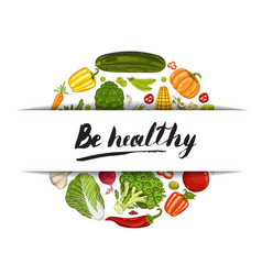 Be healthy banner with vegetable vector