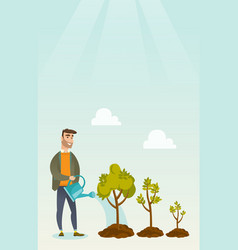 business woman watering trees vector image