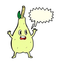 Cartoon frightened pear with speech bubble vector