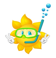 Cartoon sun with mask and snorkel vector