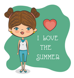 Cute girl loves summer vector