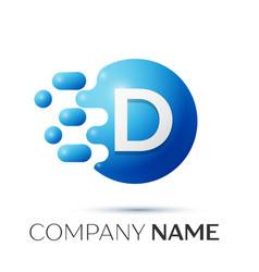 D letter splash logo blue dots and circle bubble vector