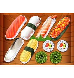 Different flavors of sushi vector