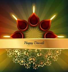 Diwali festival diya background design vector