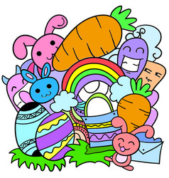 Doodle art of easter theme style vector