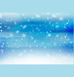 Falling snowflakes on a painted background vector