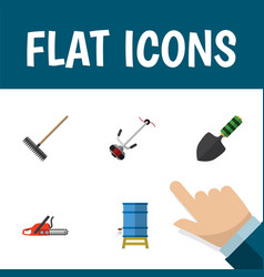 Flat icon farm set of grass-cutter hacksaw vector