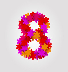 Floral numbers colorful flowers number 8 vector