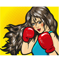 girl boxing pop art comic stock vector image vector image