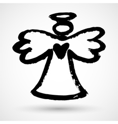 Grunge christmas angel icon vector image