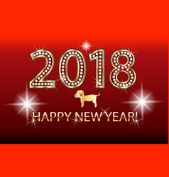 happy new year 2018 gold design vector image