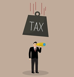 Heavy tax falling to careless businessman vector