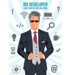 Ios developer search suit design concept vector