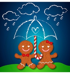 loving couple of gingerbreads and sugar cane vector image