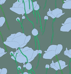 poppies blue pattern vector image