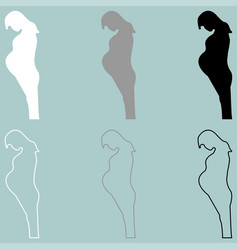 pregnant woman white grey black icon vector image