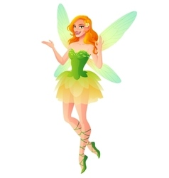 Presenting fairy with wings in green dress vector