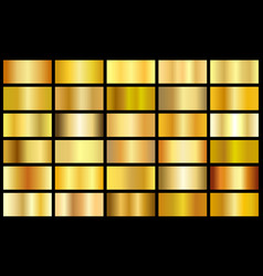 set of gold realistic metal texture seamless vector image vector image