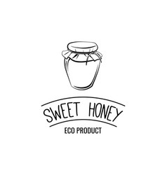 Small glass jar sweet honey label logo badge eco vector