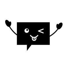 Speech bubble kawaii character vector