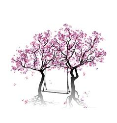 Swing between the trees vector