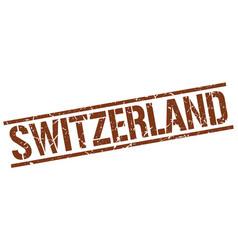 Switzerland brown square stamp vector