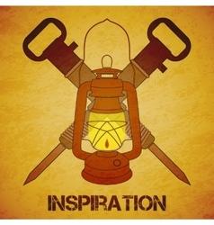 Vintage mine kerosene lantern with jackhammers vector