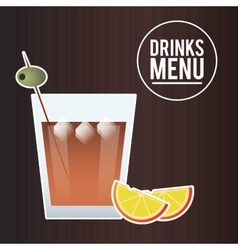 Cocktail olive orange glass summer alcohol icon vector