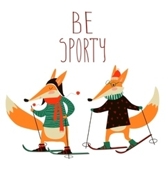 Cute foxes skiing vector
