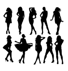 silhouette model modern stylish clothes vector image