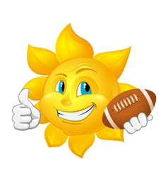 cartoon sun with rugby ball vector image