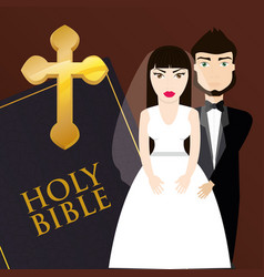 Get married couple bible card invitation vector