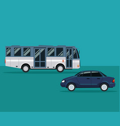 Color background with bus and automobile vehicle vector
