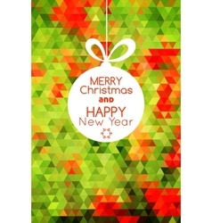 Merry christmas ball card abstract green vector