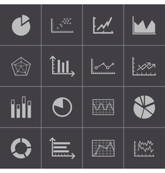 Black diagram icons set vector