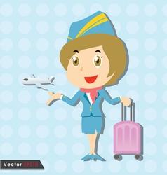 Beautiful stewardess with blue uniform vector image