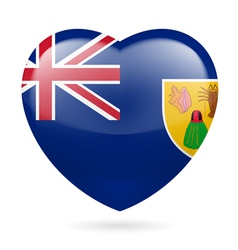 Heart icon of turks and caicos islands vector