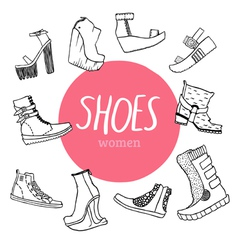 Set with womens shoes vector