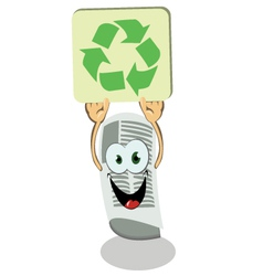 Newspaper holding a recycling sign vector