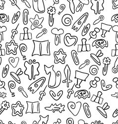 Doodle seamless pattern with paper clips of vector
