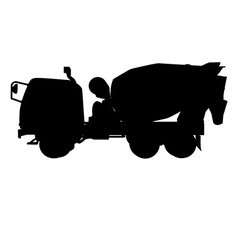 Silhouette of cement mixertruck vector