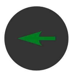 Sharp left arrow flat green and gray colors round vector