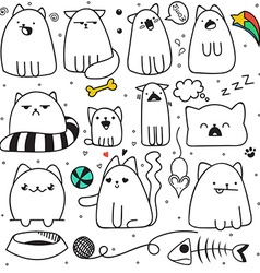 Set of 11 sticker doodle cats different emotions vector image