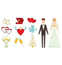 Wedding couple and icons cartoon style vector