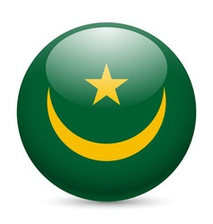 Round glossy icon of mauritania vector