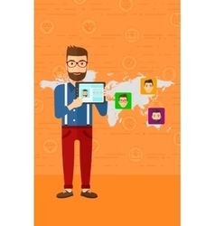 Man holding tablet computer with social media vector