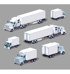 Set of the white low poly trucks vector