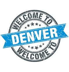 Welcome to denver blue round vintage stamp vector