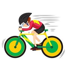 Cyclist riding on mountain bike vector image