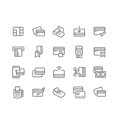 Line credit card icons vector